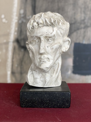 Miniature plaster bust with bleached shellac finish #1