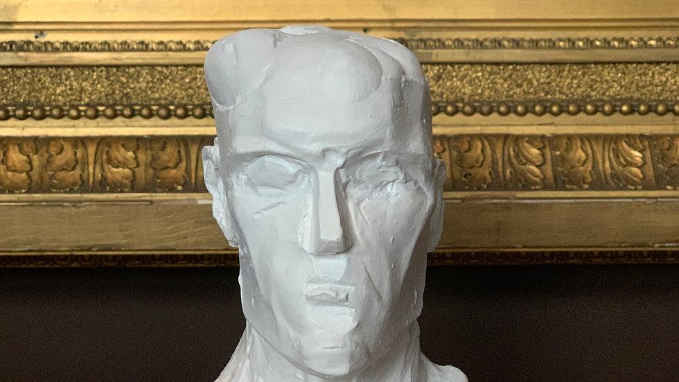Miniature clay-cast plaster head in white