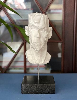 Miniature clay-cast plaster head #8
