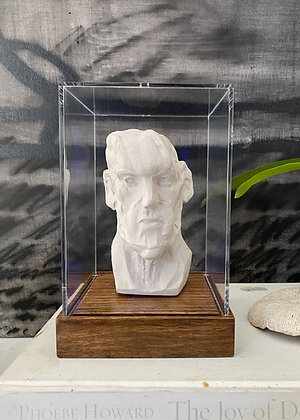 Miniature clay-cast plaster head with display case