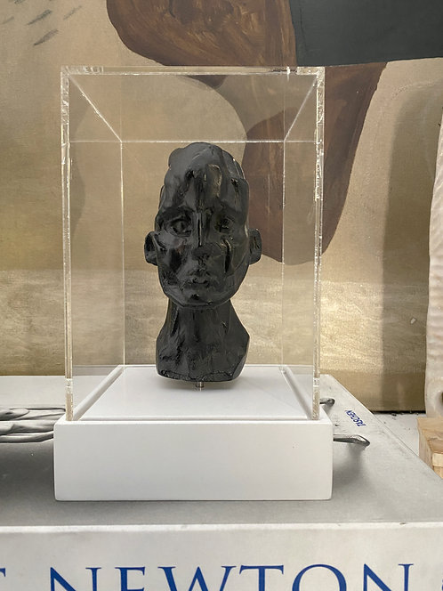 Miniature clay-cast plaster head with display case #12