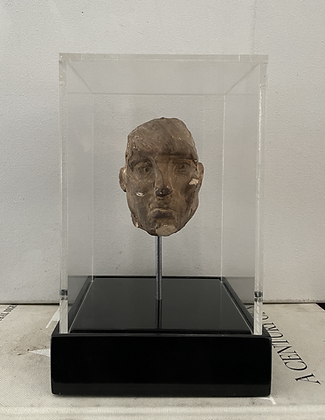 Miniature burnt plaster bust in display box