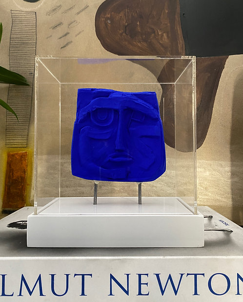 Blue plaster relief in acrylic case #8