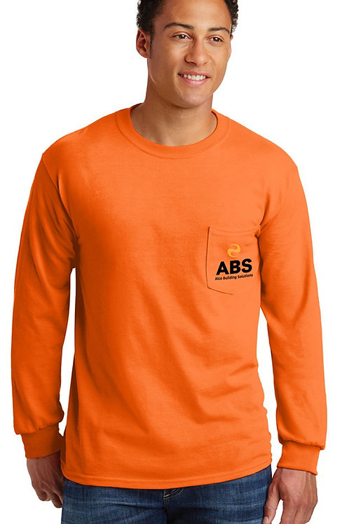 Ultra Cotton 100% Cotton Long Sleeve TShirt with Pocket.