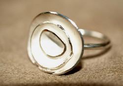 Silver triple lichen ring
