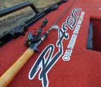 red marine fishing carpet on boat