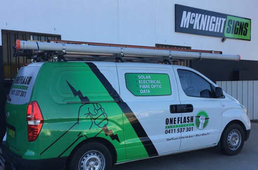 one flash van wraped by mcknight signs in tamworth