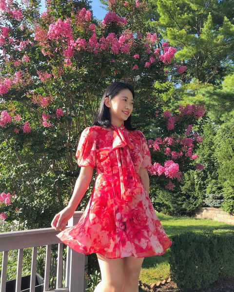 Floral Chiffon Mini Dress with Bow Tie