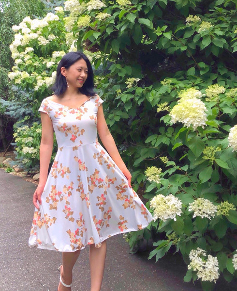 Wide Neck Floral Jersey Dress