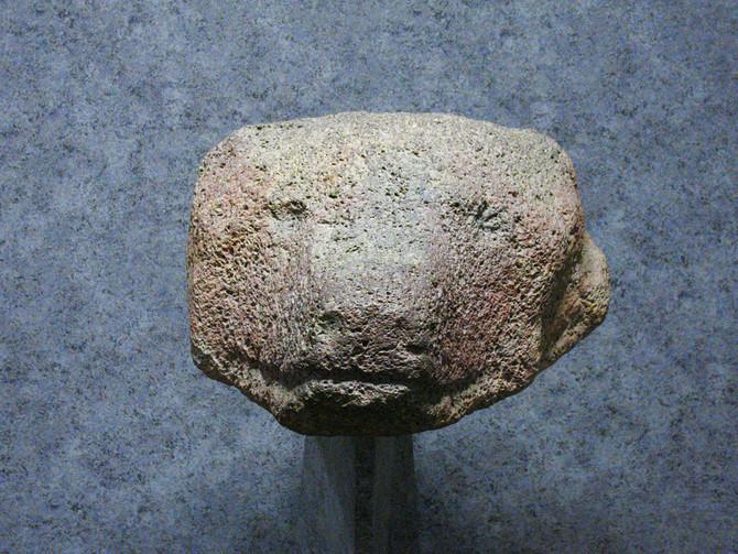 モヨロ貝塚 熊の頭の石像