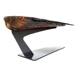 Driftwood Steel & Glass Coffee Table 2