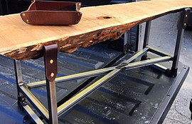 Custom Live Edge & Steel Coffee Table