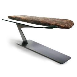 Driftwood Steel & Glass Coffee Table 1