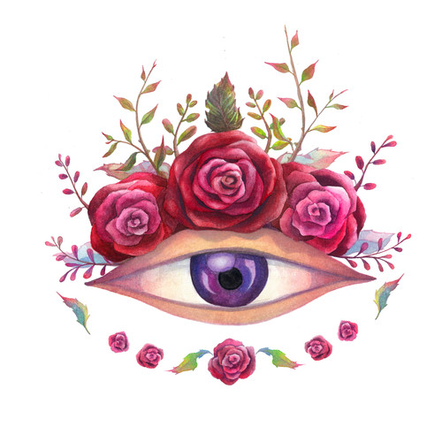 eye with roses