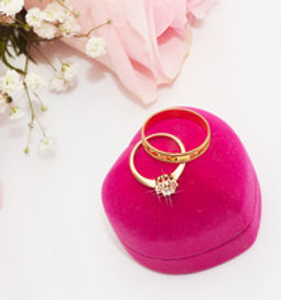 Gypsy Rose pink roses and wedding rings