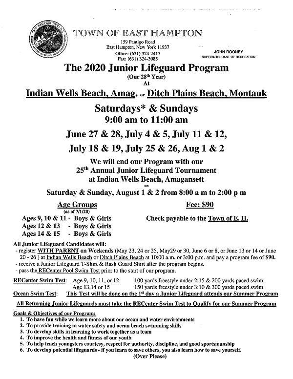 Junior Lifeguard Program 6:27-82 page 1.