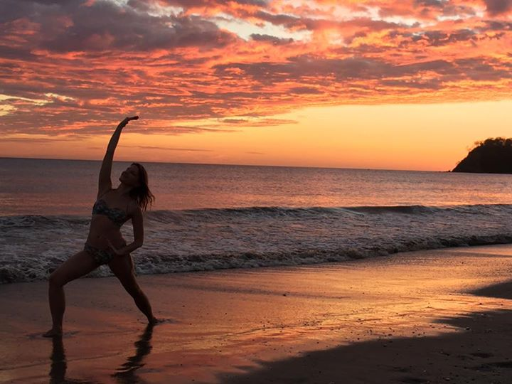 Dancing warrior sequence at Samara beach with the most amazing sunset kissing my skin 😘❤️