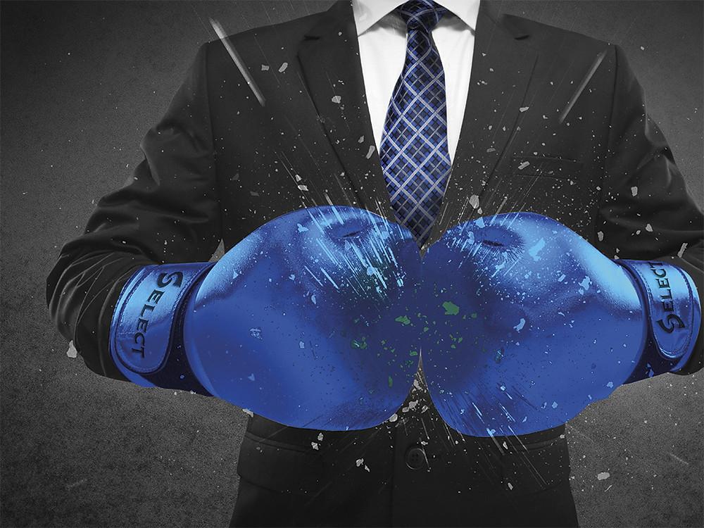 Illustration: Businessman in Select boxing gloves