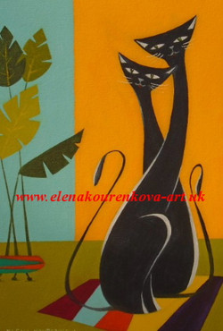 midcentury cats painting
