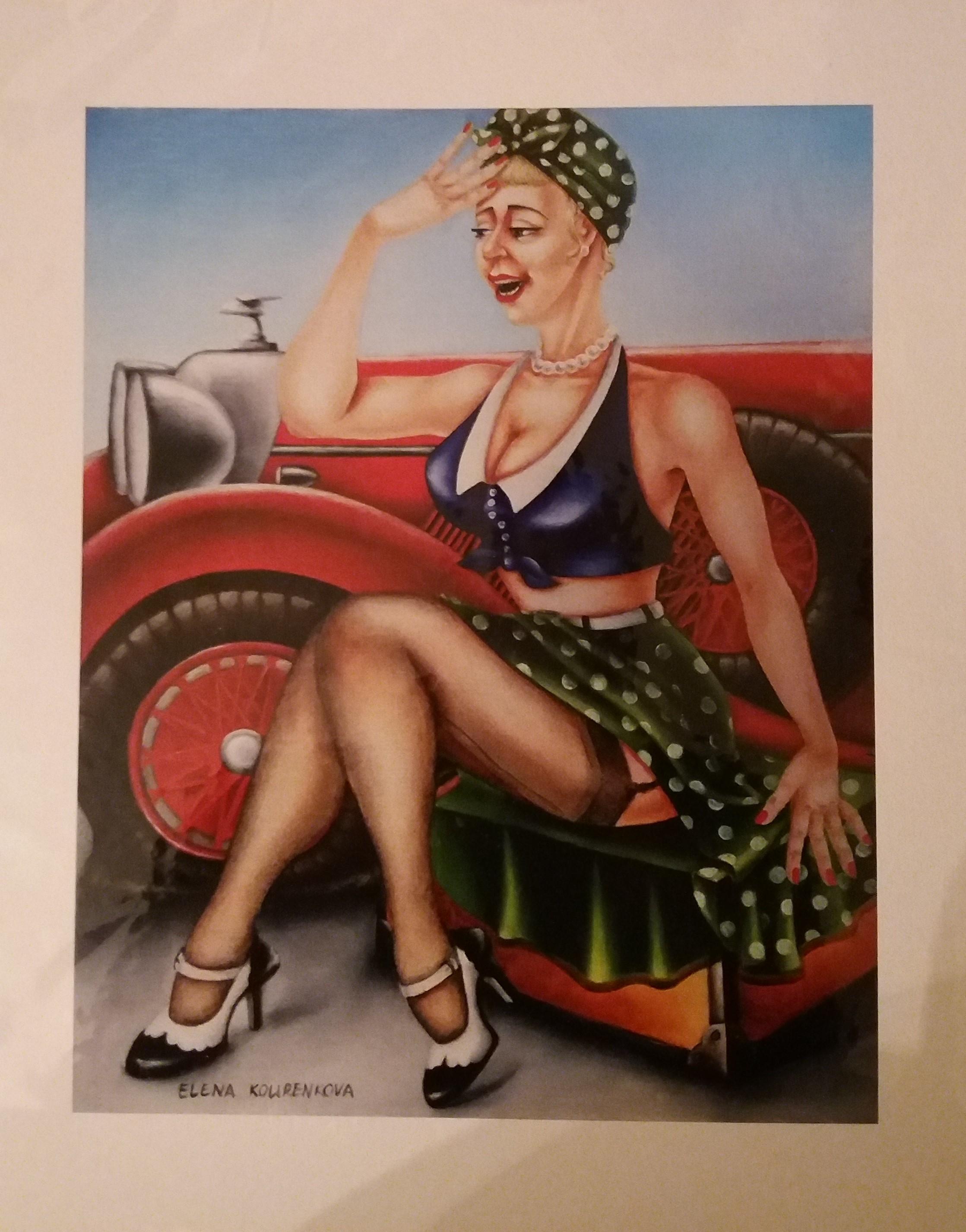 vintage pin-up car art painting