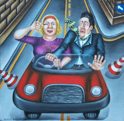 whimsical humorous art-woman driver