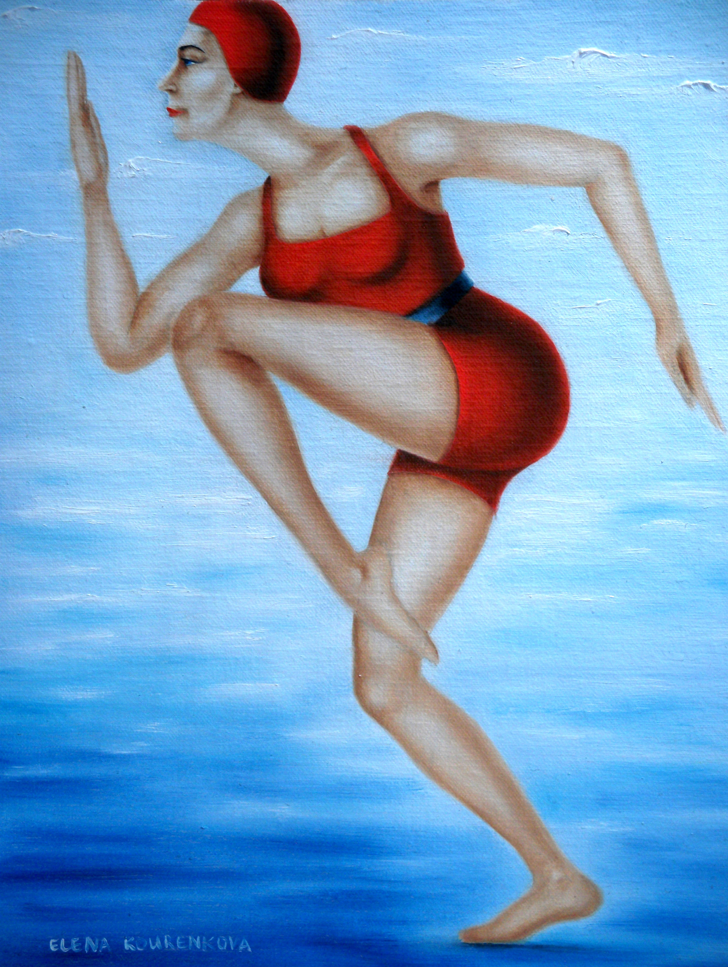art deco style painting-swimmer