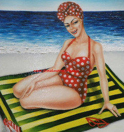 vintage 1950s girl pinup painting