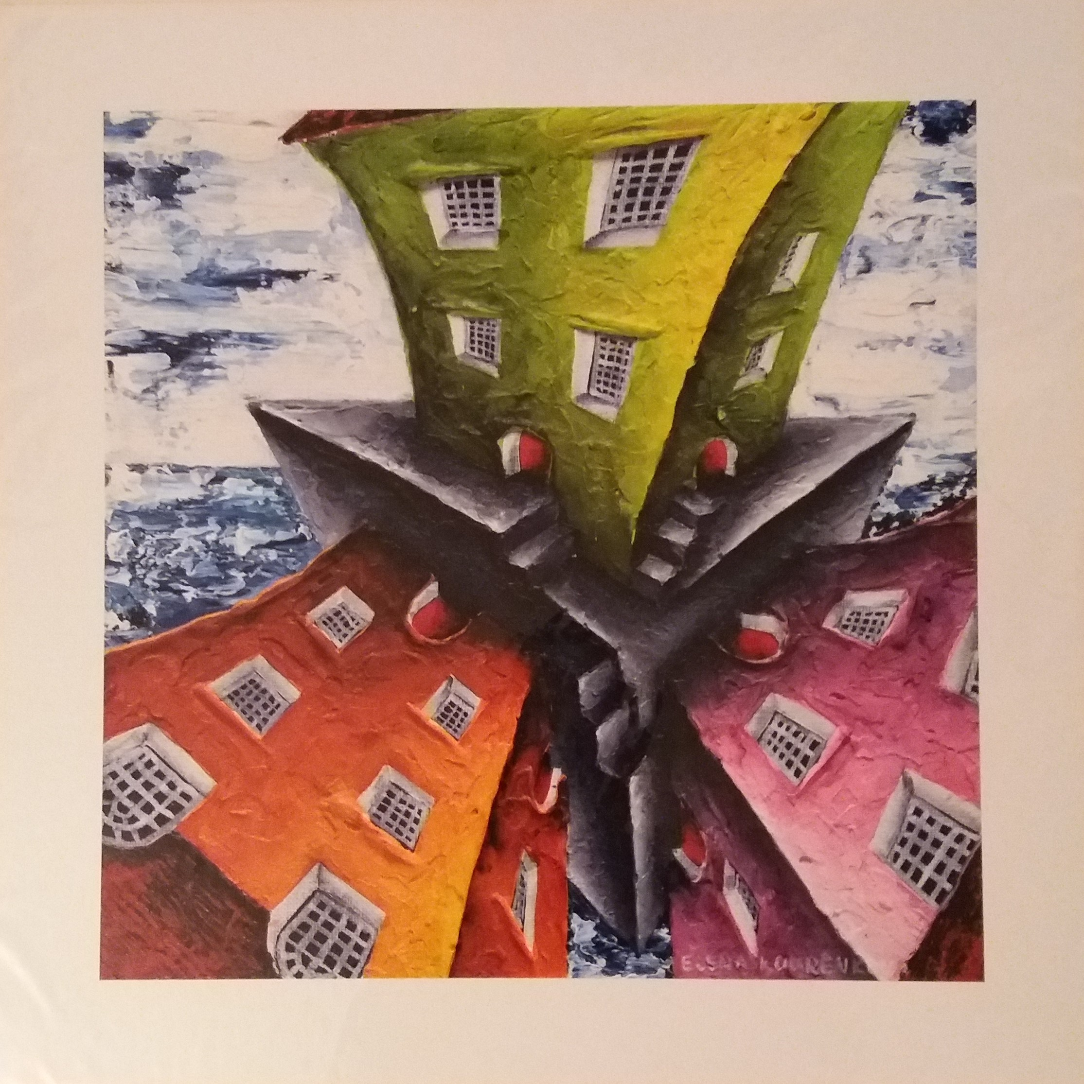 twisted houses quirky seascape print