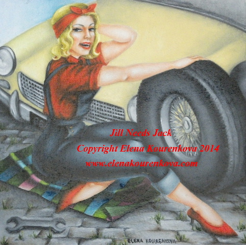 vintage pin-up artwork painting