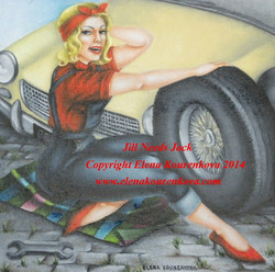 1950s pin-up painting, vintage car