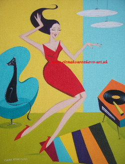 midcentury 1950s illustration dancing woman with cat painting