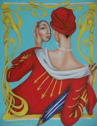art deco original oil painting