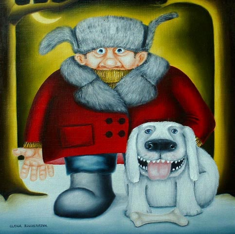 "Deputy dawg"" quirky painting of pets"