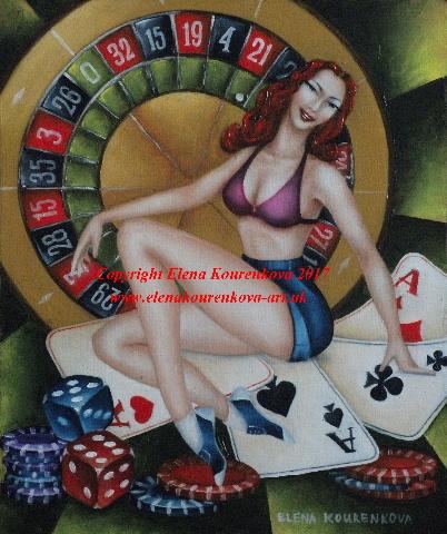 Casino pin-up original art painting