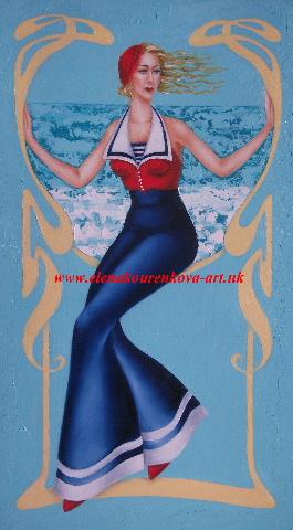 artdeco lady, original painting