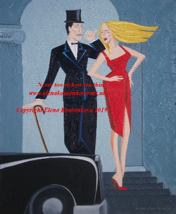 art deco couple with rolls royce car