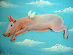 quirky animal oil painting