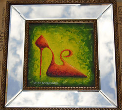 framed painting of red stiletto shoe