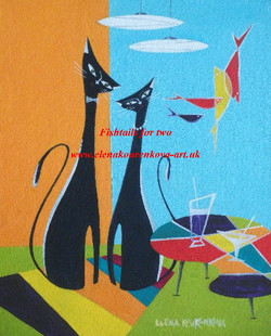 midcentury atomic cats painting