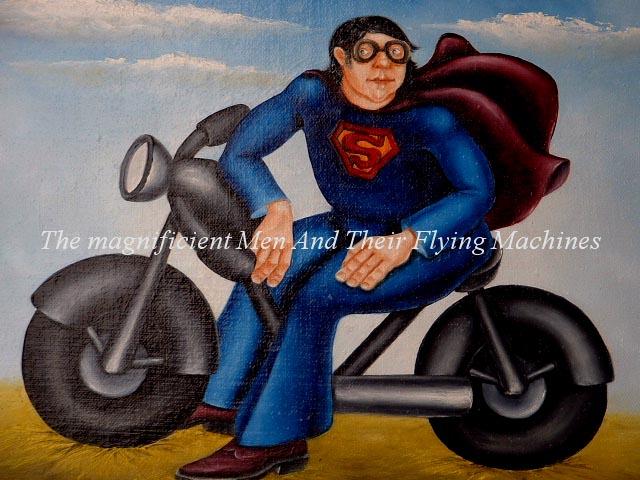 biker man on motorbike original art
