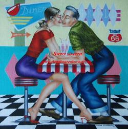 vintage 1950s american diner scene