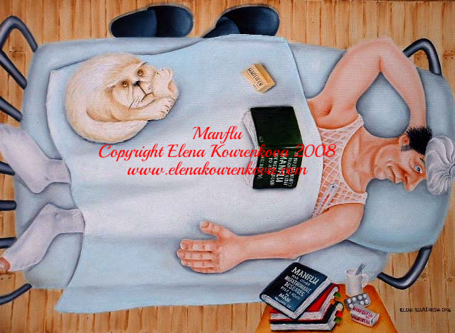 Manflu-quirky humorous painting