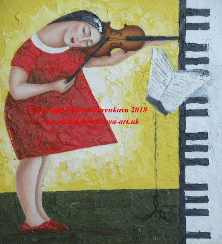 Music art work-a girl with a violin