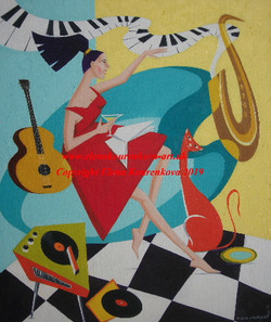abstract midcentury music/cat/saxophone painting