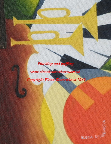 abstract music instruments painting