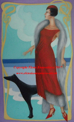 art deco image lady with dog