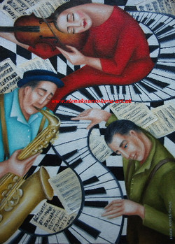 piano violin saxophone painting