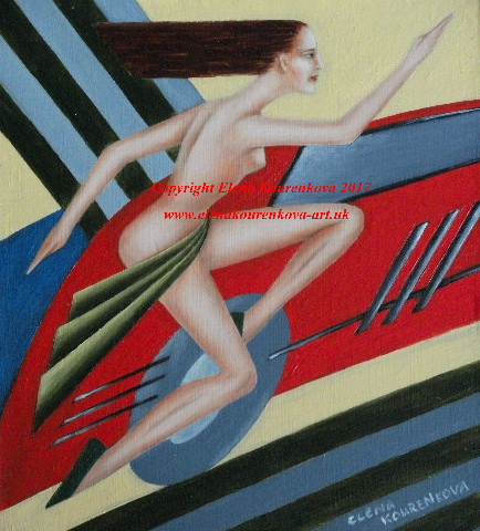 art deco artwork painting woman