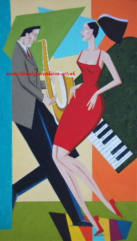 midcentury music couple saxman/piano painting