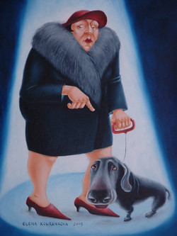 figurative woman with dog painting